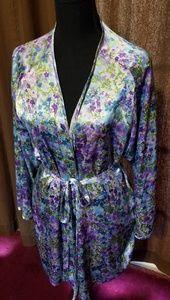 Victorias Secret Floral Belted  Satin Robe
